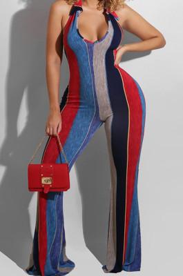 Red Night Club Stripe Printing Halter Neck V Collar Backless Slim Fitting Wide Leg Jumpsuits HXY8055-1