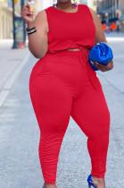 Red Cotton Blend Round Collar Sleeveless Bandage Tank High Waist Bodycon Pants Plus Two-Piece YFS10013-2