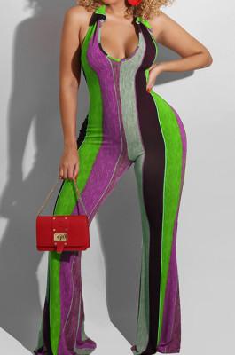 Purple Night Club Stripe Printing Halter Neck V Collar Backless Slim Fitting Wide Leg Jumpsuits HXY8055-3