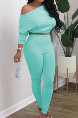 Cyan Fashion Long Sleeve Oblique Shoulder Dew Belly High Waist Bodycon Pants Solid Colur Sport Sets HXY8027-5