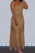 Khaki Personality One Shoulder Short Sleeve Long Pants Cape Pure Color Bodycon Jumpsuits OMY80036-3