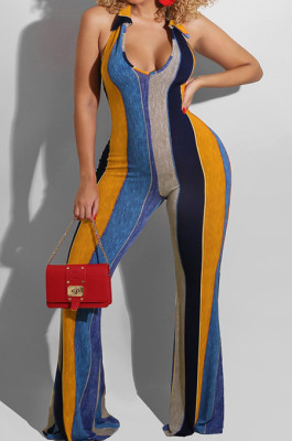 Orange Night Club Stripe Printing Halter Neck V Collar Backless Slim Fitting Wide Leg Jumpsuits HXY8055-4