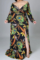 Black Lady Feather Printing Multicolor Sexy Split Tied Long Sleeve V Neck Plus Long Dress KZ2117-2