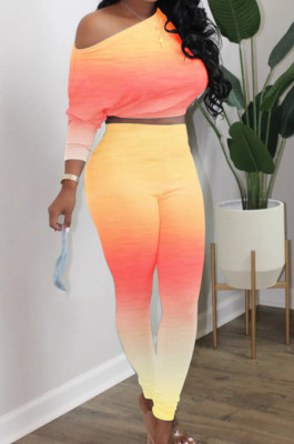 Yellow Red Cotton Blend Gradient Long Sleeve Obique Shoulder Dew Belly High Waist Tight Pants Sport Sets HXY8032-1