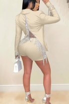 Apricot Euramerican Women Solid Color Back Deep V Split Tassel Casual Turn-Down Collar Shorts Sets RB3042-7