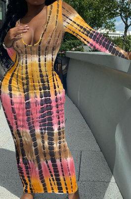Khaki Pink Women Tie Dye Ribber Positioning Printing Bodycon Long Sleeve Sexy Long Dress Q922-4