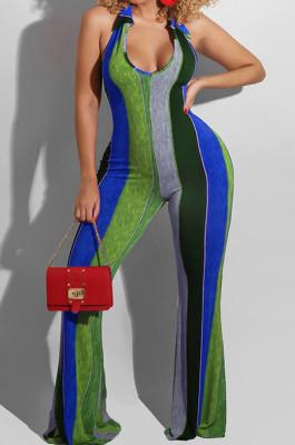 Blue Night Club Stripe Printing Halter Neck V Collar Backless Slim Fitting Wide Leg Jumpsuits HXY8055-2
