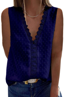 Dark Blue Jacpuard Deep V Collar Sleeveless Chiffon Pure Color Blouse MDO33-3