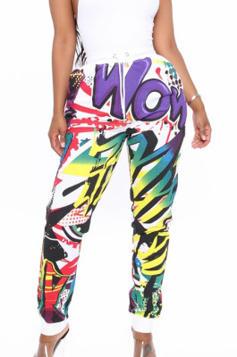 White New Personality Printing Casual High Waist Sport Pants LS6375