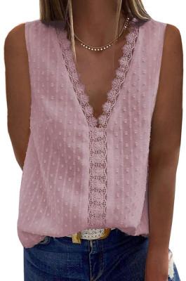 Pink New Jacpuard Deep V Collar Sleeveless Chiffon Pure Color Blouse MDO33-2