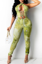 Earth Yellow Sexy Positioning Printing Bandage Halter Neck Strapless Backelss Hollow Ourt Bodycon Jumpsuits SZS8149-2