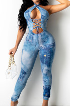 Lake Blue Sexy Positioning Printing Bandage Halter Neck Strapless Backelss Hollow Ourt Bodycon Jumpsuits SZS8149-1