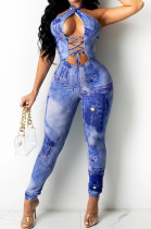 Royan Blue Sexy Positioning Printing Bandage Halter Neck Strapless Backelss Hollow Ourt Bodycon Jumpsuits SZS8149-3