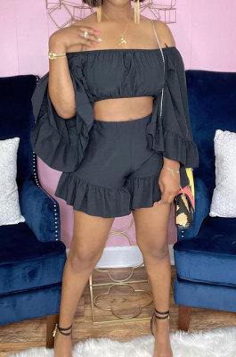 Black Women Fashion Pure Color Off Shoulder Horn Sleeve Dew Waist Flounce Shorts Sets YZ7041-3