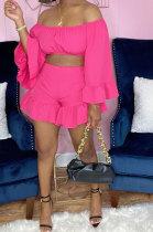 Pink Women Fashion Pure Color Off Shoulder Horn Sleeve Dew Waist Flounce Shorts Sets YZ7041-2