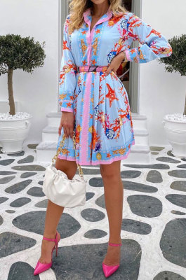 Blue Women Printing Casual Bodycon Long Sleeve Turn-DownCollar T Shirt/Shirt Dress YZ7040-2