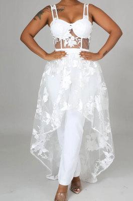 White Women Pure Color High Waist Condole Belt Embroidered Plus Midi Dress YF9218