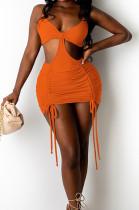 Orange Cotton Blend Summer Condole Belt Backless Strapless Drawsting Sexy Solid Color Hip Mini Dress DR8107-3