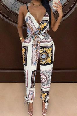 Black Euramerican Women Fashion Printing Condole Belt V Neck Casual Jumpsuit WME2068-2