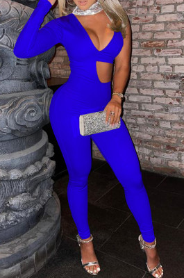 Peacock Blue Euramerican Sequins One Sleeve V Neck Strapless Irregularity Hollow Out Solid Color Bodycon Jumpsuits SZS8153-4
