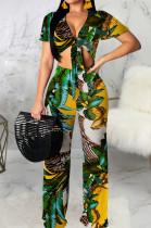 Green Fashion Digital Printing Short Sleeve V Neck Bandage Crop Top High Waist Shift Pants Two-Piece SMR10506-1