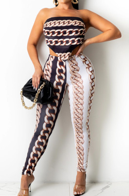 Light Coffee New Positioning Chain Printing Strapless Backless Tight Pants Two-Piece SZS8146-3