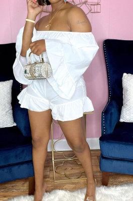 White Women Fashion Pure Color Off Shoulder Horn Sleeve Dew Waist Flounce Shorts Sets YZ7041-1