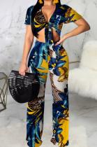 Blue Fashion Digital Printing Short Sleeve V Neck Bandage Crop Top High Waist Shift Pants Two-Piece SMR10506-3