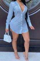 Blue Women Long Sleeve V Neck Pure Color Shirts Single-Breasted SlimFitting T Shirt/Shirt Dress WMZ0098-4
