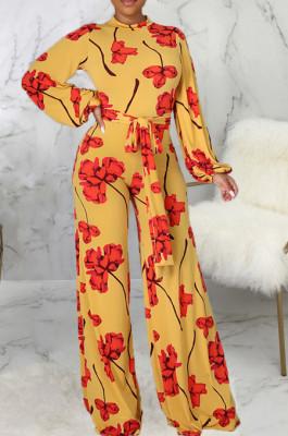 Yellow Digital Printing Long Sleeve Round Collar Zip Back Collcet Waist Bandage Wide Leg Jumpsuits SMR10492