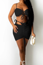 Black Night Club Pure Color Condole Belt Bandage Strapless Mid Waist Ruffle Drawsting Hip Skirts Two-Piece SZS8147-2