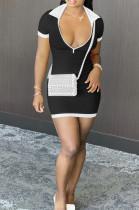 Black Casual Ribber Short Sleeve Lapel Neck Zipper Slim Fitting Hip Mini Dress DR88112-2
