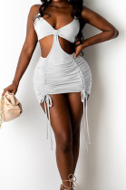 White Cotton Blend Summer Condole Belt Backless Strapless Drawsting Sexy Solid Color Hip Mini Dress DR8107-2