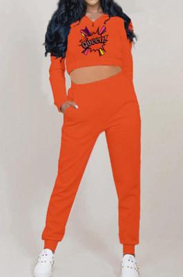Orange Autumn And Winter Velvet Long Sleeve Stand Collar Zipper Fleece Carrot Pants Casual Sport Sets YMT6224-3