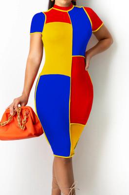 Royal Blue Fashion Spliced Short Sleeve Round Collar Slim Fitting Hip Midi Dress SZS8154-2