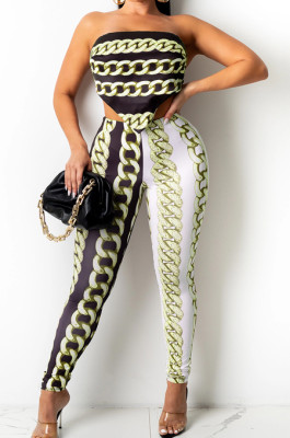 Light Green New Positioning Chain Printing Strapless Backless Tight Pants Two-Piece SZS8146-1