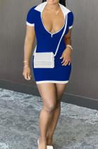 Blue Casual Ribber Short Sleeve Lapel Neck Zipper Slim Fitting Hip Mini Dress DR88112-3