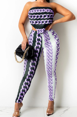 Light Purple New Positioning Chain Printing Strapless Backless Tight Pants Two-Piece SZS8146-2