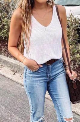 White Fashion Women Sleeveless V Neck Loose Solid Colur Tanks MDO6033-1