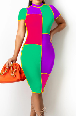 Neon Green Fashion Spliced Short Sleeve Round Collar Slim Fitting Hip Midi Dress SZS8154-3
