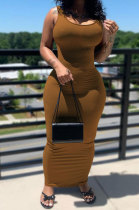 Brown Women Solid Color Sleeveless Joker Tight Long Dress AD0801-2