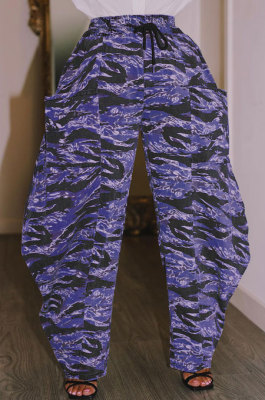 Purple Loose Mid Waist Fashion Casual Multicolor Camo Long Pants AYA7026-4