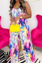 Red Blue Women Trendy Printing Tie Dye Condole Belt Loose Casual Jumpsuits AMN8019-1