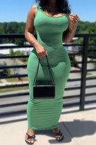 Green Women Solid Color Sleeveless Joker Tight Long Dress AD0801-3
