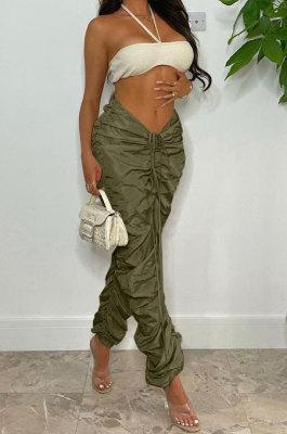 Army Green Women Pure Color Ruffle Drawsting Sport Casual Long Pants AYA7027-2