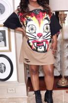 Camel Fashion Patterns Print Hole Short Sleeve Loose T-Shirt Dress YG10869-2