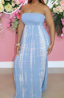 Light Blue Summer New Cotton Blend Printing Loose Backless Long Dress P8723-2