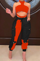 Red New Wholesal Halter Neck Straless Spliced Hollow Out Crop Top Casual With Pocket Pants Two-Piece SZS8159-2