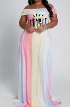Pink White Big Yards Women Contrast Color Stripe Letter Printing A Word Shoulder Collcet Waist Long Dress YFS3707-3