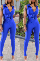 Peacock Blue Cotton Blend Sleeveless Lapel Neck Single-Breasted Shirts Bodycon Pants Solid Color Two-Piece YG10867-3